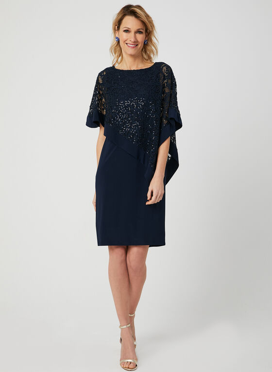 Sequin Lace Poncho Dress, Blue, hi-res