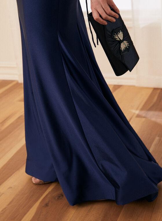 Robe sirène satinée à manches longues, Bleu