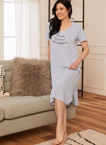 Chemise de nuit à message imprimé, Bleu,  pyjama, vêtement de nuit, chemise de nuit, robe de nuit, manches courtes, encolure arrondie, col rond, message imprimé, printemps été 2021