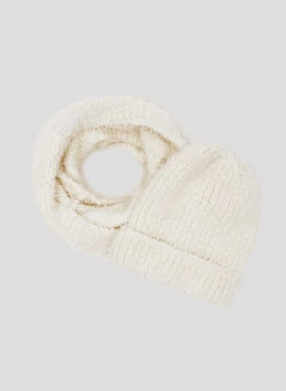 Chenille Infinity Scarf, Off White, hi-res