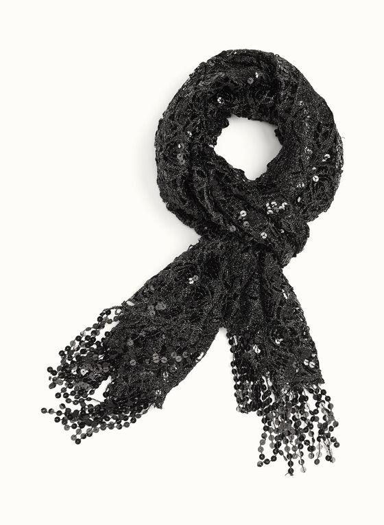 Sequin Harlequin Print Pashmina Scarf , Black, hi-res