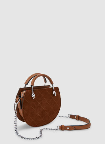Quilted Round Handbag, Brown,  fall winter 2019, quilted, round, top handle