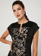 Floral Embroidered Scuba Dress, Black, hi-res