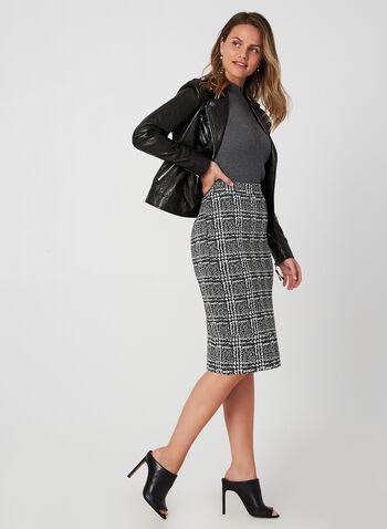 Plaid Print Skirt, Black,  fall winter 2019, knit, pencil skirt, pull-on, plaid print