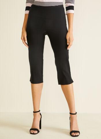 Slit Detail Pull-On Capris, Black,  capris, pull-on, slim leg, bengaline, slits, spring summer 2020