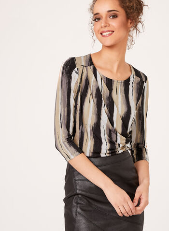 3/4 Stripe Print Blouse, , hi-res
