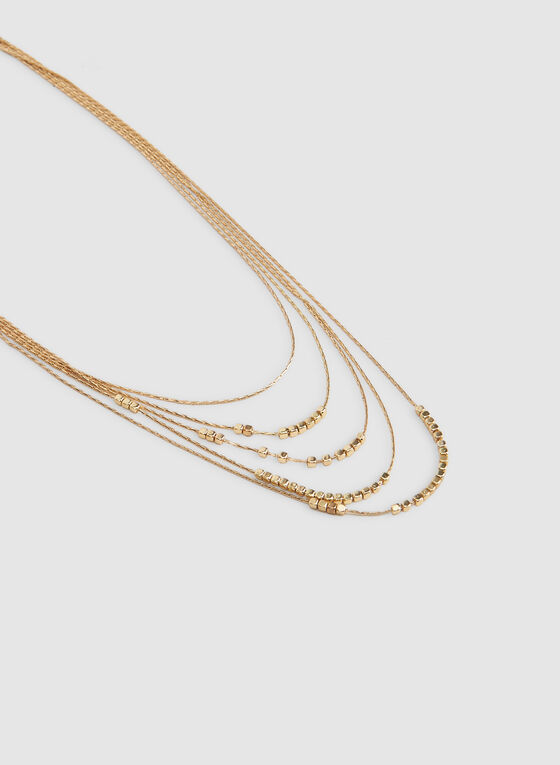 Multistrand Metal Necklace, Gold, hi-res