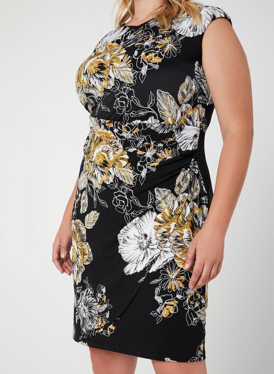 Floral Print Draping Dress, Black, hi-res