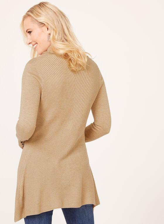 Pull long en tricot à col roulé lâche, Brun, hi-res