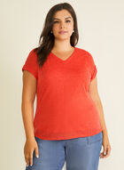 Ruched Sleeve Linen-Like Top, Red