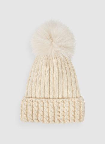 Bonnet texturé à pompon, Brun, hi-res,  tricot léger, fausse fourrure, pompon amovible, automne hiver 2019