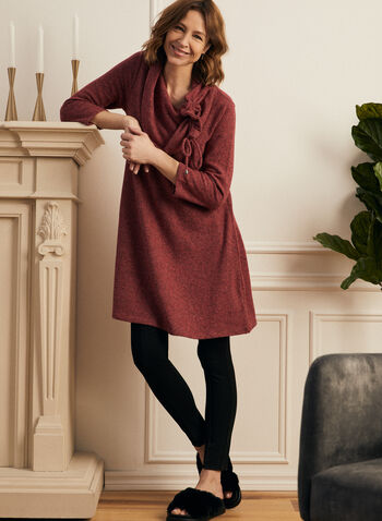 Drawstring Collar Sweater Knit Tunic, Red,  top, tunic, knit, sweater, cowl neck, drawstring, 3/4 sleeves, fall winter 2020