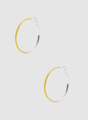 Enamel Hoop Earrings, Gold, hi-res,  enamel, hoop, earrings, fall winter 2019