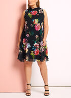 Robe trapèze fleurie à col inversé, Noir, hi-res