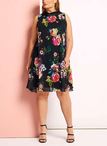 Floral Reverse Collar Trapeze Dress, Black, hi-res
