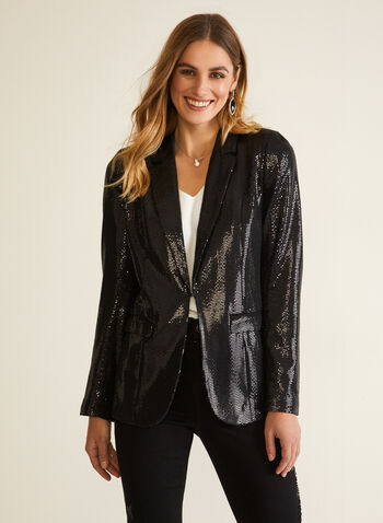 Notched Collar Sequin Jacket, Black,  jacket, sequin, notched collar, fall winter 2020