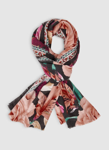 Rose Print Scarf, Black,  scarf, floral, rose, fringes, fall 2019, winter 2019