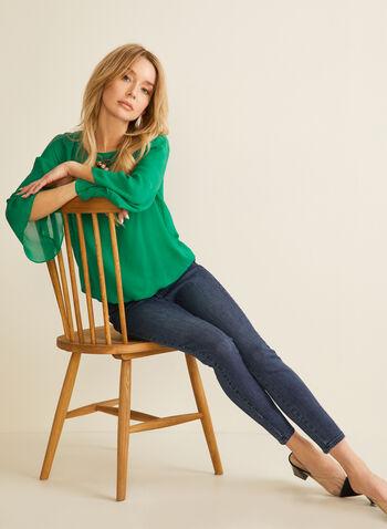 Jeans à jambe étroite longueur cheville, Bleu,  jeans, jambe étroite, longueur cheville, coton, poches, printemps été 2020