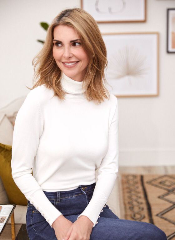 Turtleneck Sweater With Buttons, White
