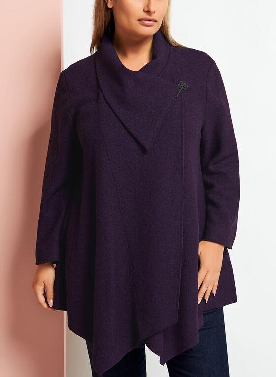 Manteau en laine à col cheminée, Violet, hi-res