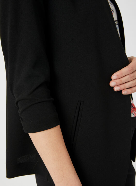Open Front Crepe Jacket, Black