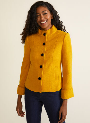 Boiled Wool Button Down Jacket, Yellow,  fall winter 2020, jacket, wool, buttons, long sleeves