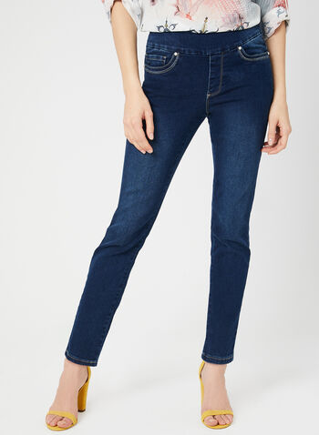 GG Jeans - Pull-On Slim Leg Jeans, Blue,  signature fit, denim. ankle, spring 2019