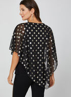 Metallic Polka Dot Print Top, Black