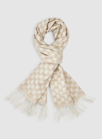 Check Print Scarf, Off White, hi-res,  fall winter 2019, check, scarf, fringe