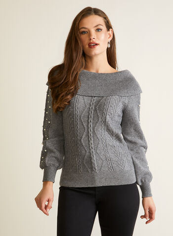 Pearl Detail Cable Knit Sweater, Grey,  fall winter 2020, pearl detail, cable, boat neck knit, sweater, pullover, warm, cozy, comfort, stretch, top, fold over, boat neck, turtleneck
