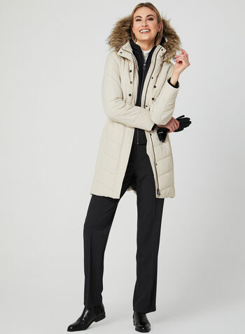 Hooded Quilted Coat, Off White, hi-res