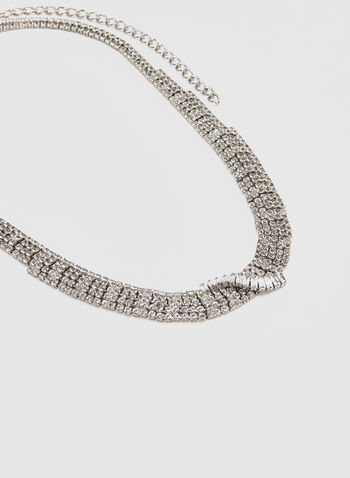 Twisted Crystal Necklace, Silver,  necklace, crystals, fall 2019, winter 2019, holiday