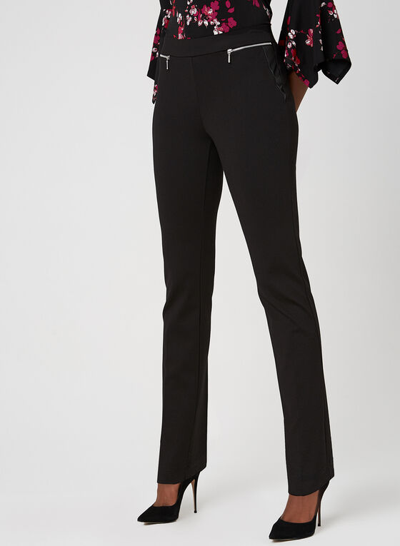 Pantalon coupe moderne à jambe droite , Noir
