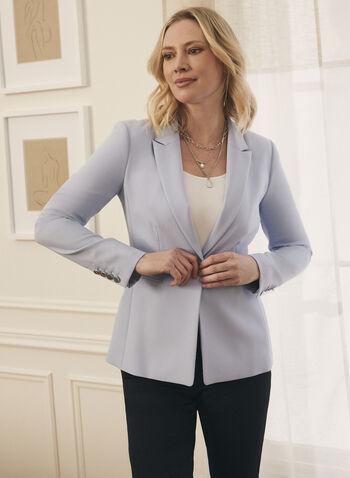 Veste à col cranté et boutons métalliques, Bleu,  veste, col cranté, manches longues, boutons métalliques, épaulettes, printemps été 2021