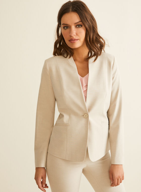 One-Button Closure Blazer , Off White