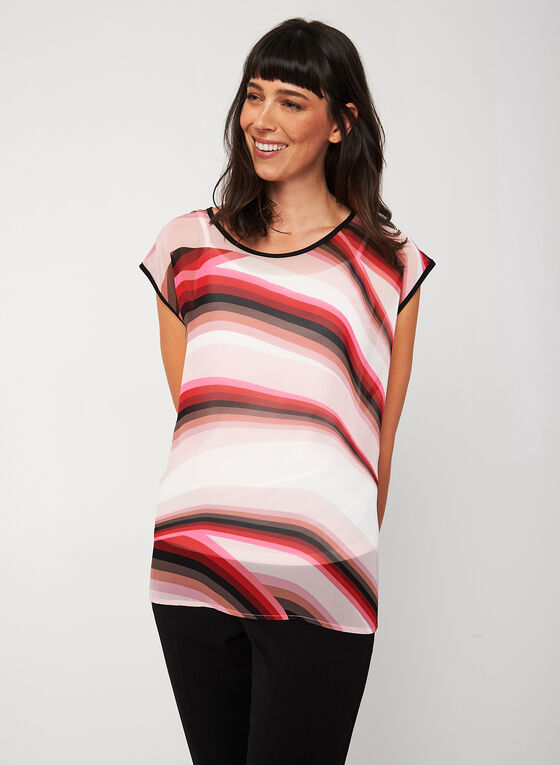 Chiffon Stripe Print Blouse, Multi, hi-res