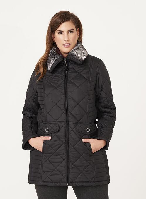 Weatherproof - Manteau matelassé avec doublure en fausse fourrure, Noir, hi-res