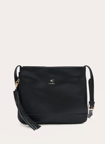 Crossbody Bag With Removable Tassel, Black, hi-res