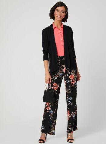 Floral Print Wide Leg Pants, Black, hi-res,  modern fit, jersey, pull-on, spring 2019