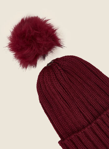 Removable Pom Pom Ribbed Hat, Red,  fall winter 2020, tuque, hat, knitting, accessory, faux fur, removable