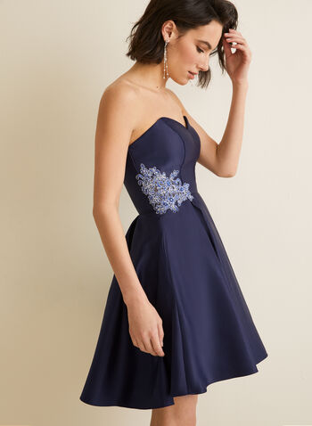 Embroidered Detail Satin Dress, Blue,  dress, prom, party, short, satin, embroidered, rhinestones, built-in bra, pockets, crinoline, sweetheart, strapless, spring summer 2020