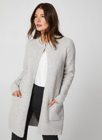 Knit Open Front Cardigan, Grey, hi-res,  cardigan, open front, knit, knitwear, yarn, textured, lightweight,long sleeves, fall 2019, winter 2019