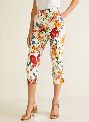 Jules & Leopold - Floral Print Pull-On Capris, Multi,  capris, floral, pull-on straight leg, spring summer 2020