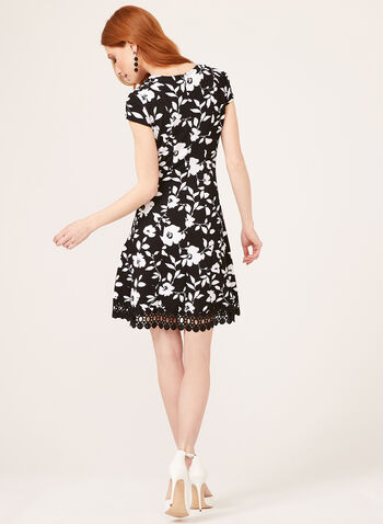 Floral Leaf Print Princess Fit Dress, Black, hi-res