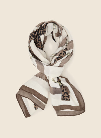Chain and Belt Print Scarf, Brown,  autumn winter 2020, scarf, scarves, pattern, patterns, print, chain, belt, holiday, leopard