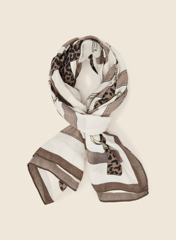 Chain and Belt Print Scarf, Brown