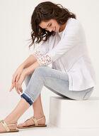 Blazer en lin avec détails crochet, Blanc, hi-res