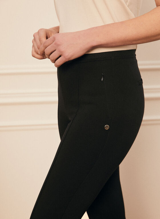 Pintuck Detail Pull-On Pants, Black