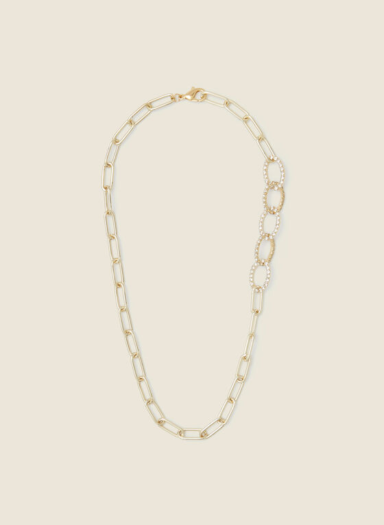 Two Tone Necklace with Crystal Details, Gold