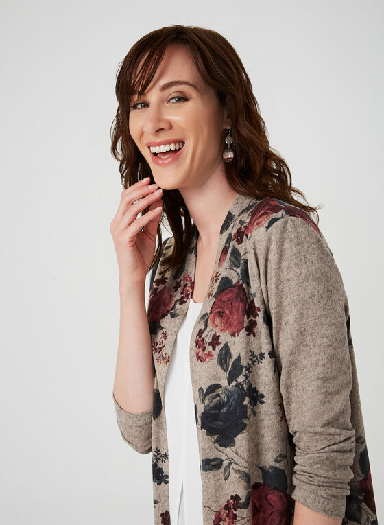 Floral Print Open Front Top, Brown, hi-res